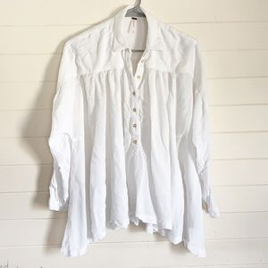 Free People White Flowy Half Button Up Blouse